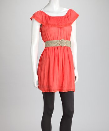 Coral Ruffle Belted Dress