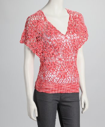 Coral Crocheted Sweater