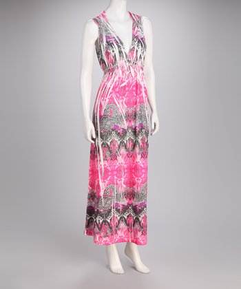 Fuchsia Sublimation Halter Maxi Dress