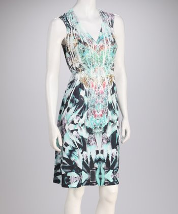 Teal & Black Sublimation Sleeveless Dress