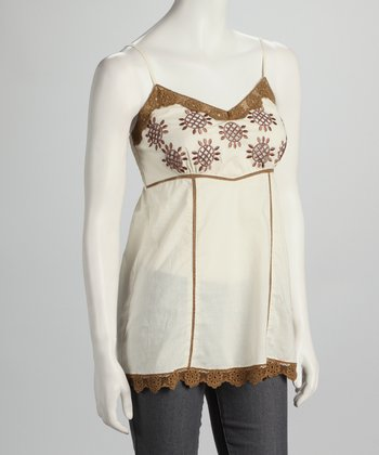 Ecru & Brown Embroidered Dress