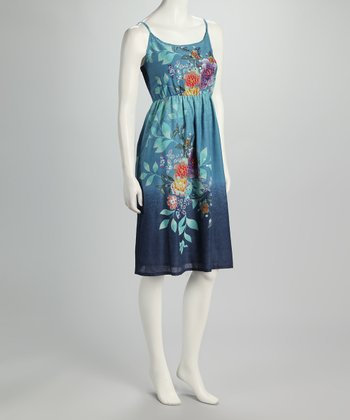 Blue Ombré Floral Dress