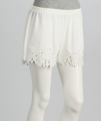 Ecru Embroidered Shorts