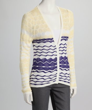 Yellow & Navy Wavy Stripe Cardigan