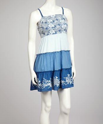 Navy & Blue Color Block Lace Dress