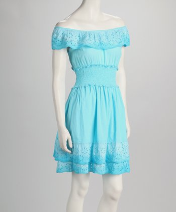 Blue Eyelet Shirred-Waist Dress