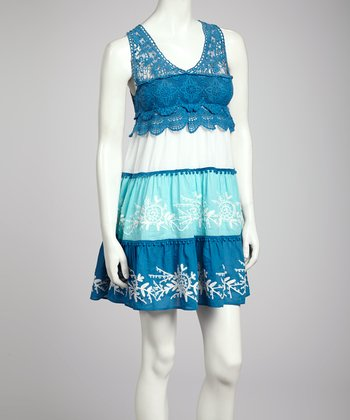 Navy & Aqua Lace Tier Dress