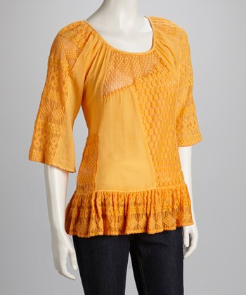 Orange Lace Ruffle Top