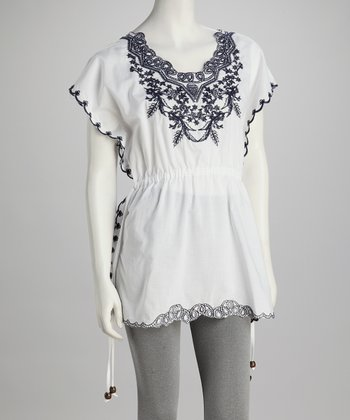 White Scallop-Edged Floral Tunic
