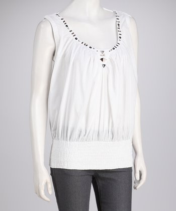 White Stud Shirred Top