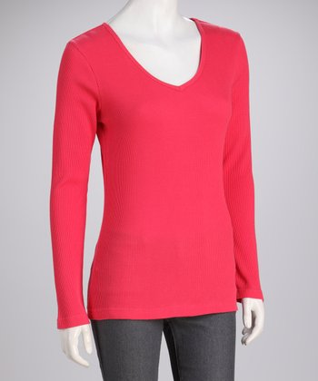 Coral Knit Long-Sleeve Top