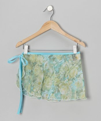 Blue & Green Sheer Floral Tie Skirt - Girls