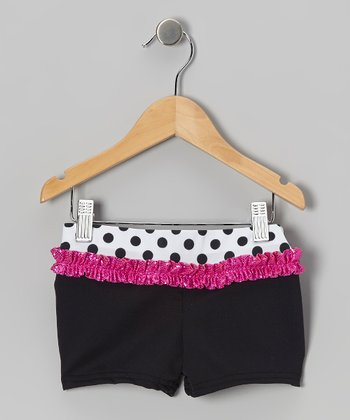 Black & Pink Polka Dot Shorts - Girls