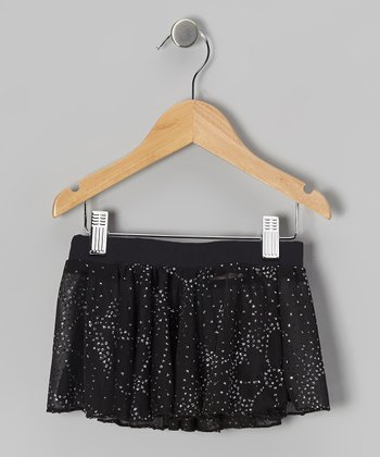 Black Sparkle Star Skirt - Girls