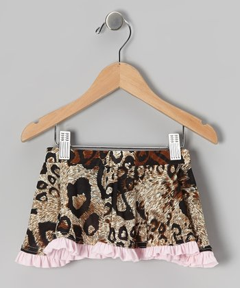Tan & Pink Leopard Skirt - Girls
