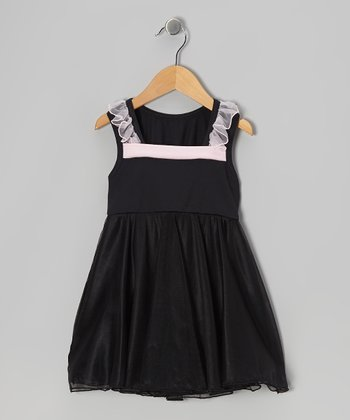 Black & Pink Flow Skirted Leotard - Girls