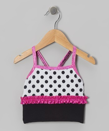 Black & Pink Polka Dot Sports Bra - Girls