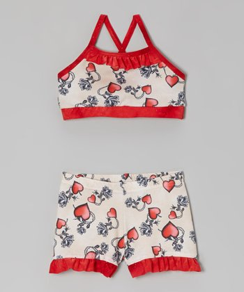 Butterfly TREASURES Cream & Red Hearts Sports Bra & Shorts - Girls
