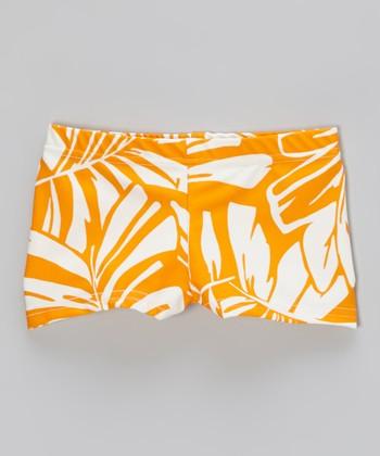 Butterfly TREASURES Orange Palm Leaf Shorts - Girls