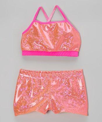 Butterfly TREASURES Orange Foil Polka Dot Sports Bra & Shorts - Girls