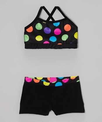 Butterfly TREASURES Rainbow Polka Dot Shorts & Sports Bra - Girls