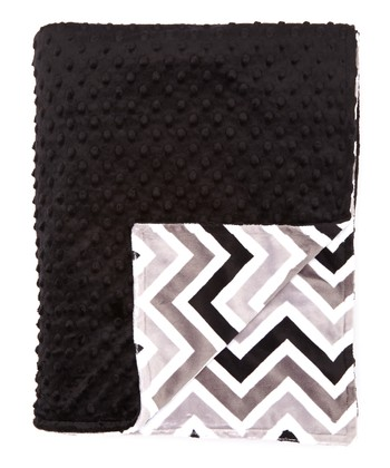 Black & Gray Zigzag Minky Throw Blanket