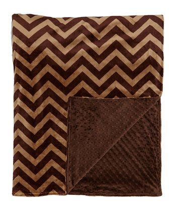Cappuccino & Brown Zigzag Minky Throw Blanket