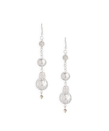 Silver & Crystal Disco Ball Earrings