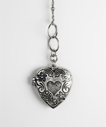 Silver Lover's Locket Pendant Necklace