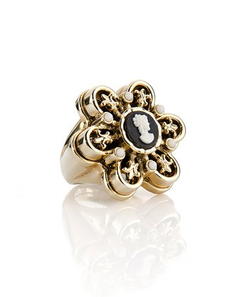 Gold & Black Bambina Cameo Ring