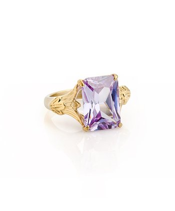 Lilac Crystal & Gold Maria Ring