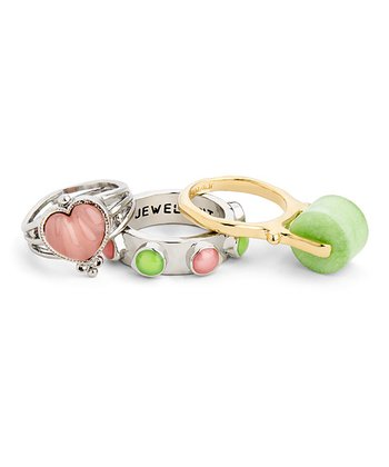 Pink & Green Hearts Desire Ring Set