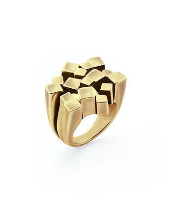 Gold Metal Mosaic Ring