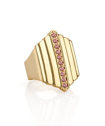 Pink Crystal & Gold Park Avenue Ring