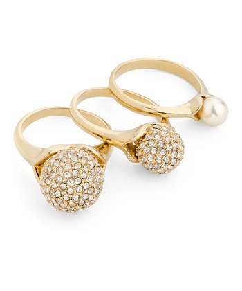 Gold Pavé Pearl Ring Set