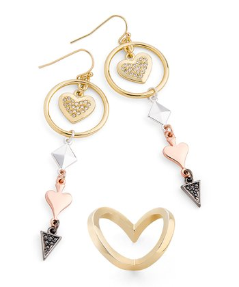 Gold & Silver Casino Royale Drop Earrings and Ring Set