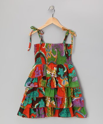 Orange Floral Ruffle Dress - Toddler & Girls