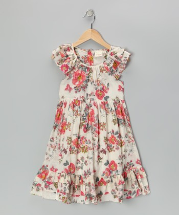 Pink Antique Floral Dress - Toddler & Girls