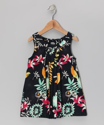 Black Vintage Floral Dress - Toddler & Girls