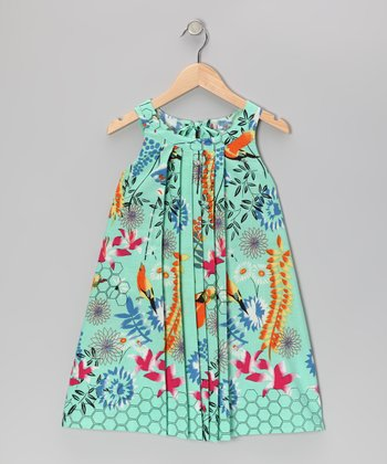 Sea Blue Vintage Floral Dress - Toddler & Girls