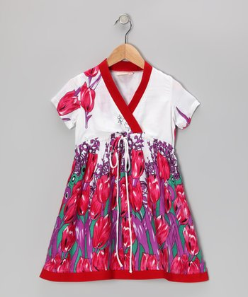Pink Tulip Surplice Dress - Toddler & Girls