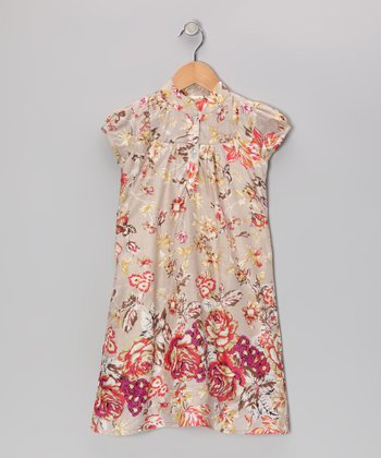 Khaki Antique Rose Dress - Toddler & Girls