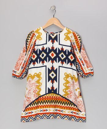 Orange Tribal Swing Dress - Toddler & Girls