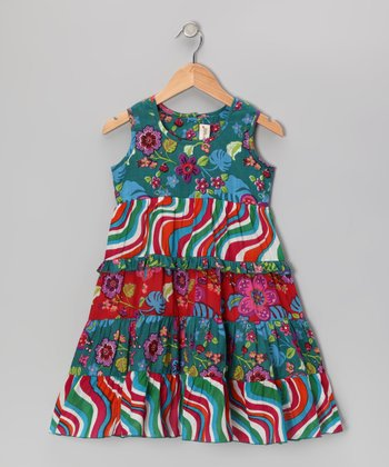 Green Retro Floral Dress - Toddler & Girls