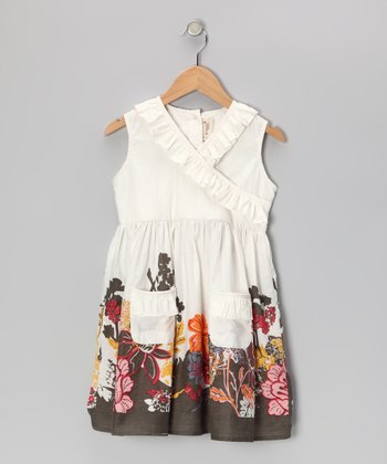 White Floral Garden Surplice Dress - Toddler & Girls