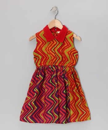 Orange Zigzag Dress - Toddler & Girls