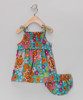 Blue Retro Floral Dress & Diaper Cover - Infant