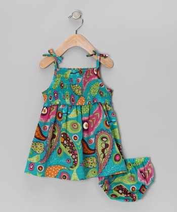 Blue & Green Paisley Dress & Diaper Cover - Infant