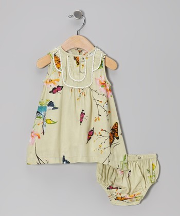 Tan Butterfly Swing Dress & Diaper Cover - Infant