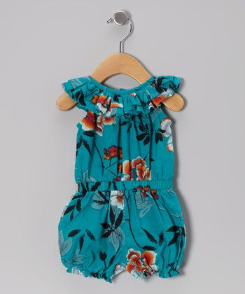 Teal Ruffle Bubble Romper - Infant